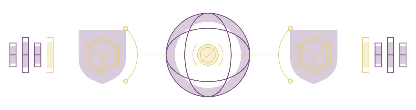 abstract purple globe with shields