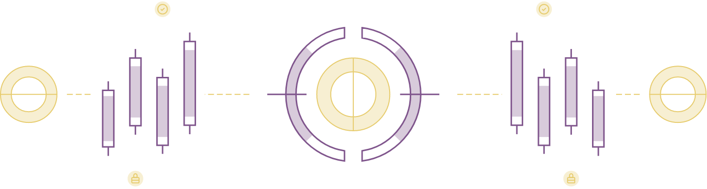 abstract purple and gold metrics